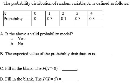 The probability distribution of random variable x for Q table probability
