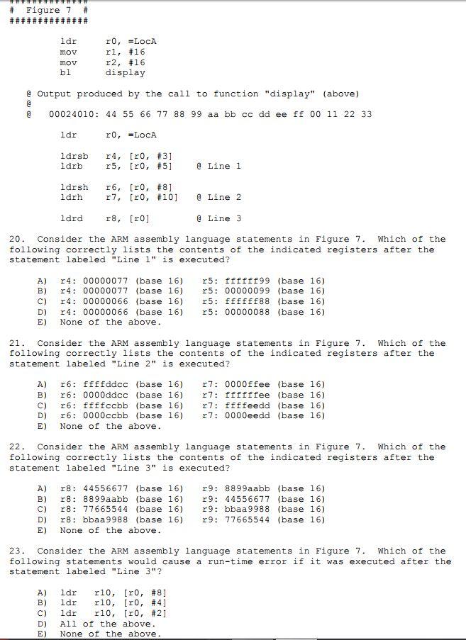 Figure 7 Ldr Mov Mov Bl R1, #16 R2, #16 Display E ... | Chegg.com