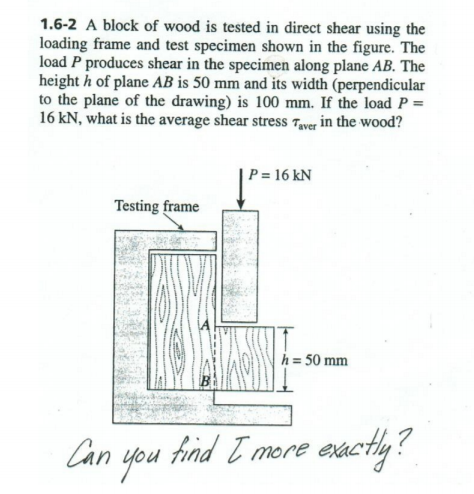 Solved: 1.6-2 A Block Of Wood Is Tested In Direct Shear Us ...