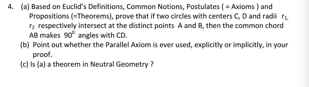 Solved: 4  (a) Based On Euclid's Definitions, Common Notio