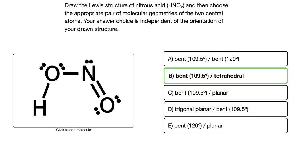 solved draw the lewis structure of nitrous acid hno2 an