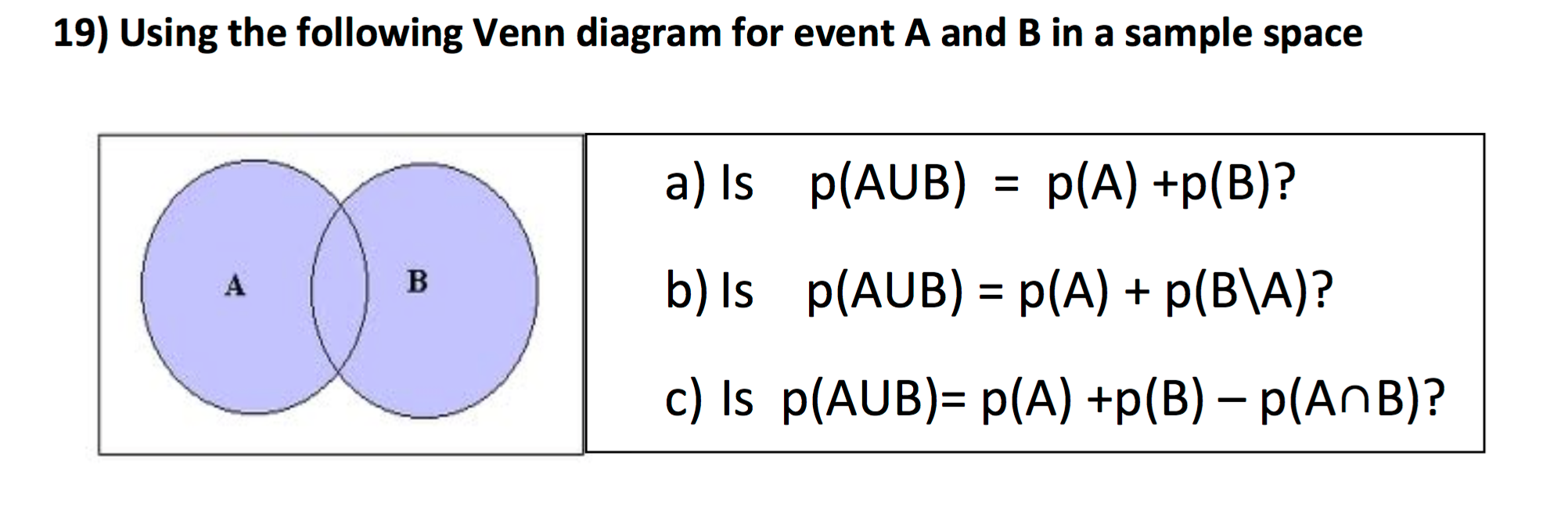 question using the following venn diagram for event a and b in a sample space is pa union b pa pb