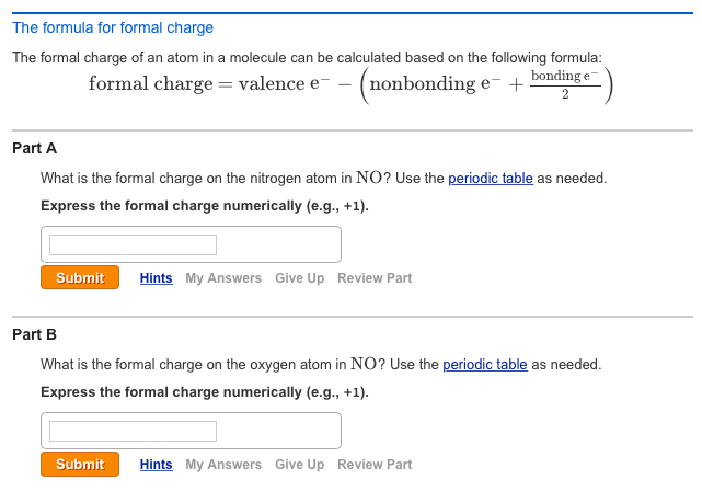 Solved The Formula For Formal Charge The Formal Charge Of