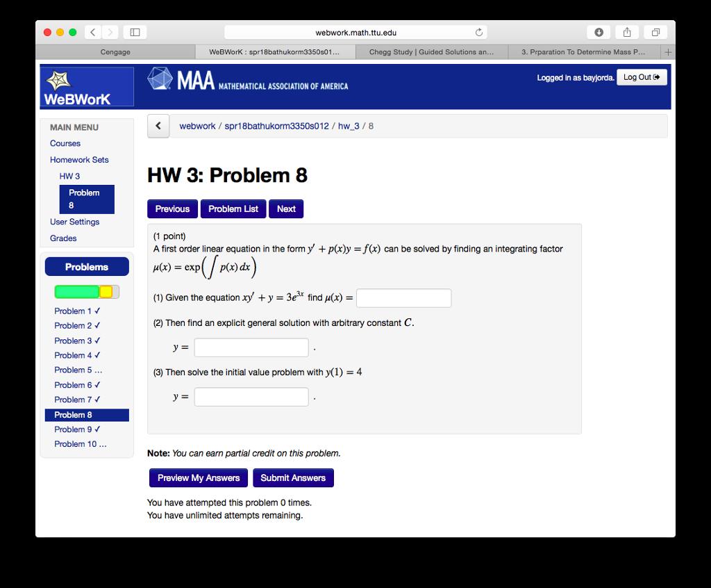 Solved: Webwork math ttu edu ○山口 WeBWorK: Spr18bathukorm