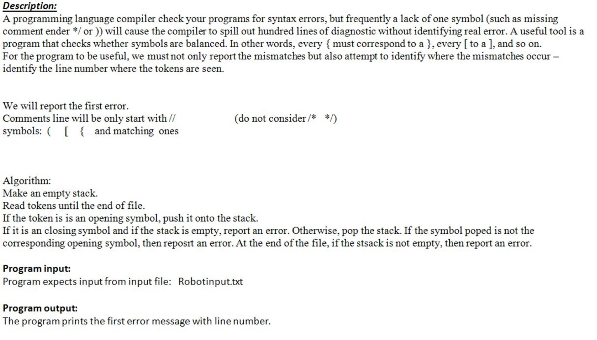 A Programming Language Compiler Check Your Program Chegg