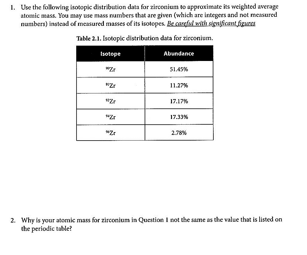 Solved 1 Use The Following Isotopic Distribution Data Fo