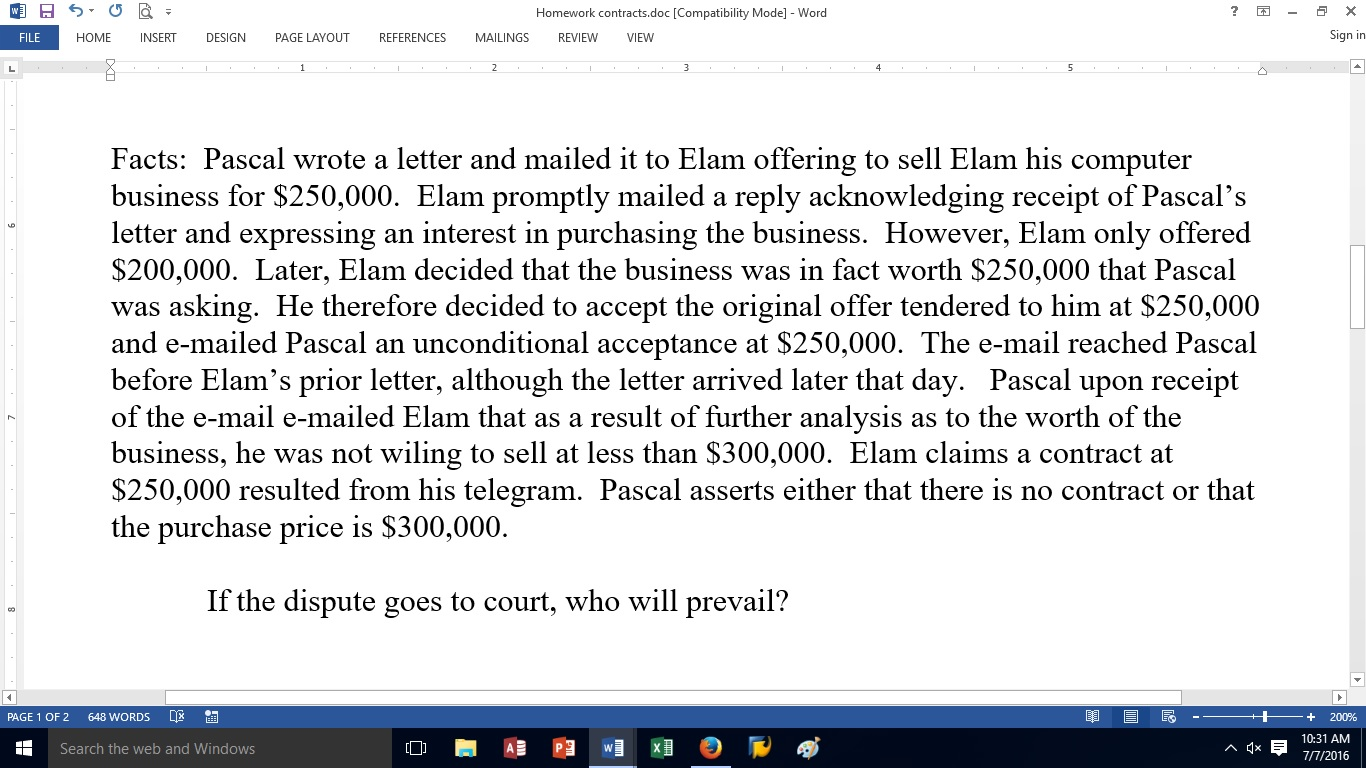 Solved Facts Pascal Wrote A Letter And Mailed It To Elam