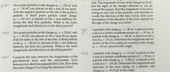 Two point particles (with charges q_1 = +30 nC and