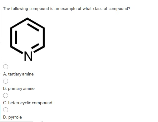 Solved The Following Compound Is An Example Of What Class