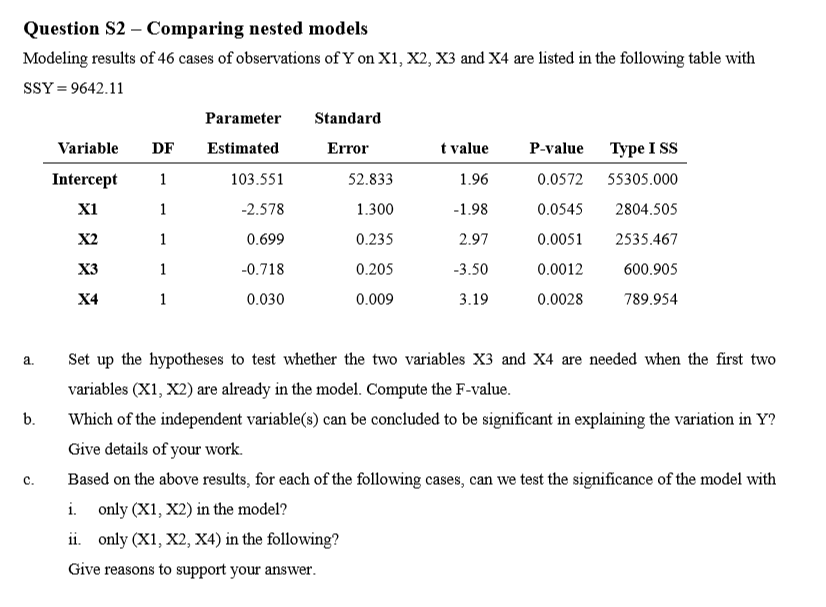 Question S2 - Comparing nested models Modeling results of 46 cases of  observations of Y on 5ec348fb62