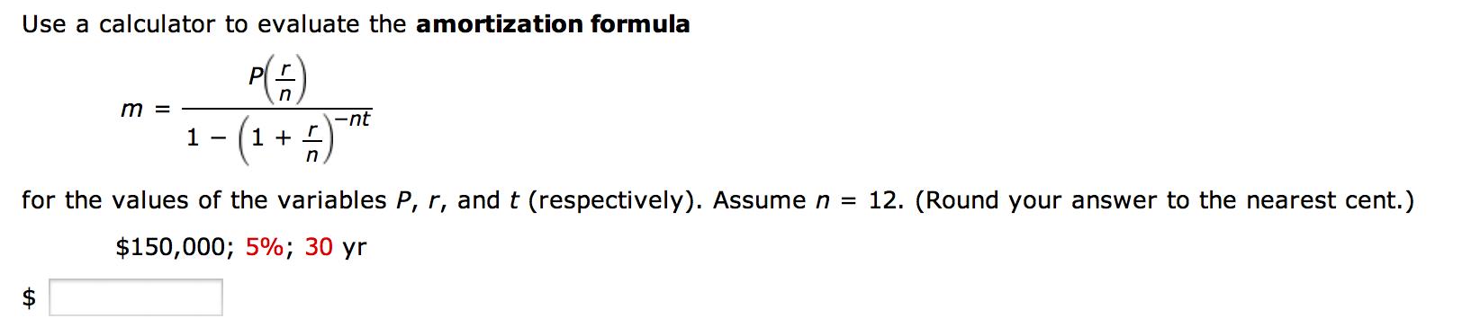 ammortization formula
