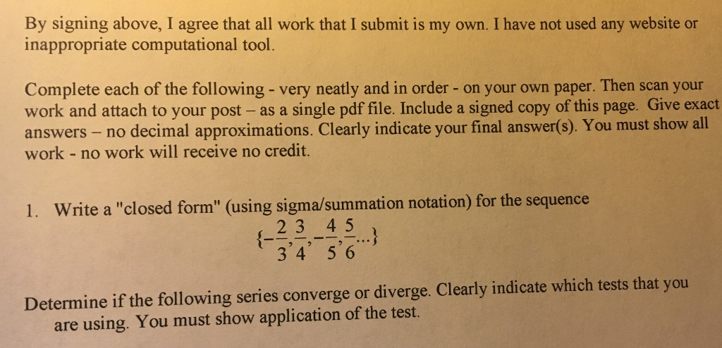 Solved: I Am Not Sure How To Write The Closed Form Of The