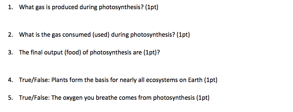 Solved: 1. What Gas Is Produced During Photosynthesis? (1p... | Chegg.com