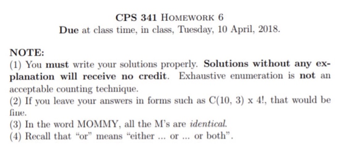 Solved: CPS 341 HOMEWORK 6 Due At Class Time, In Class, Tu