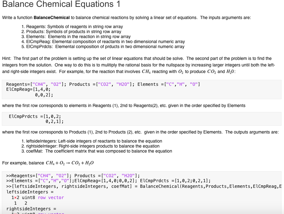 Solved Balance Chemical Equations 1 Write A Function Bala