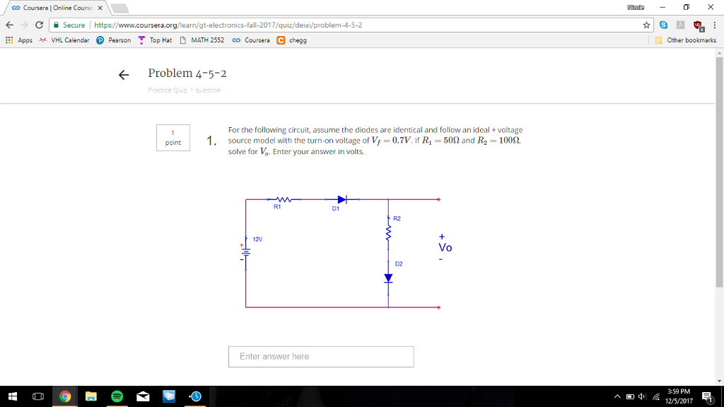 Solved: For The Following Circuit, Assume The Diodes Are I ...