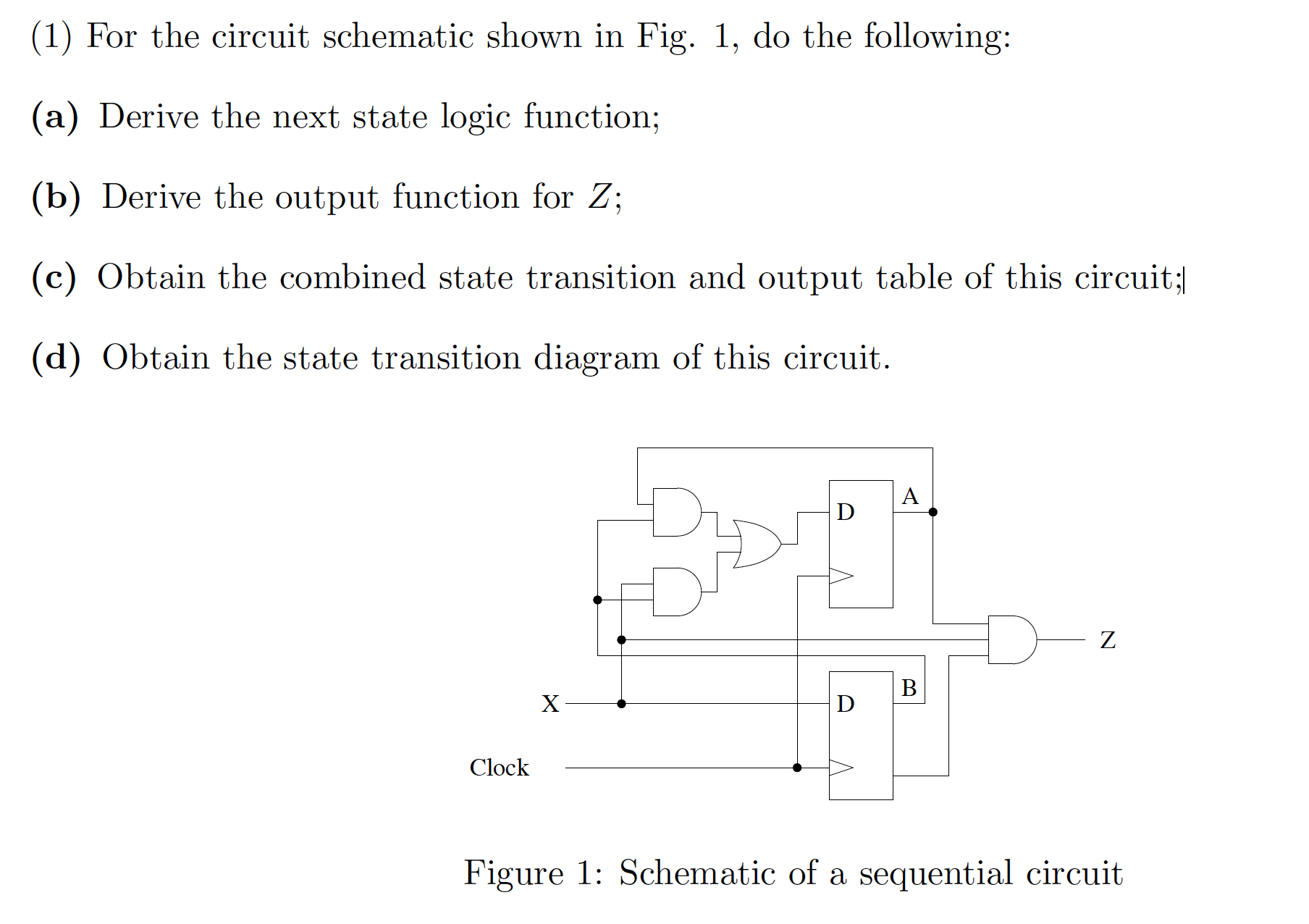 1 For The Circuit Schematic Shown In Fig Do More On Schematics See Show Transcribed Image Text Following A Derive Next State Logic Function