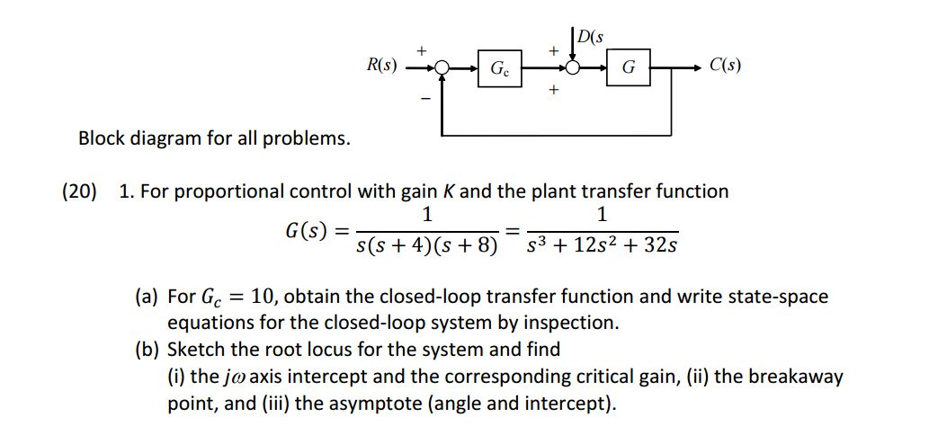 d(s ge block diagram for all problems  (20) 1  for