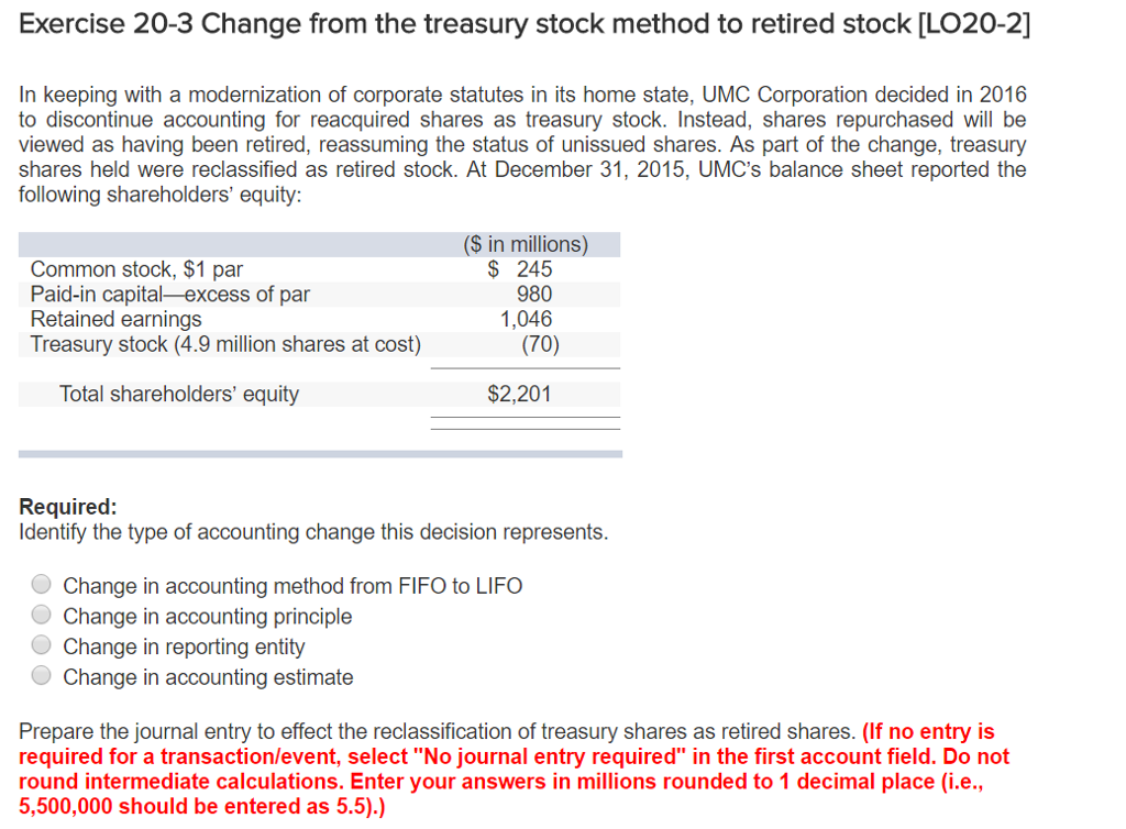 Solved: Exercise 20-3 Change From The Treasury Stock Metho