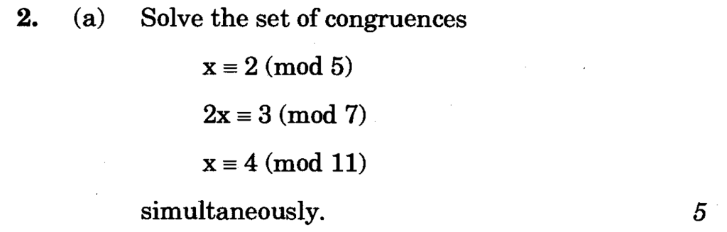 Solved: Solve The Set Of Congruences X 2 (mod 5) 2x 3 (mod