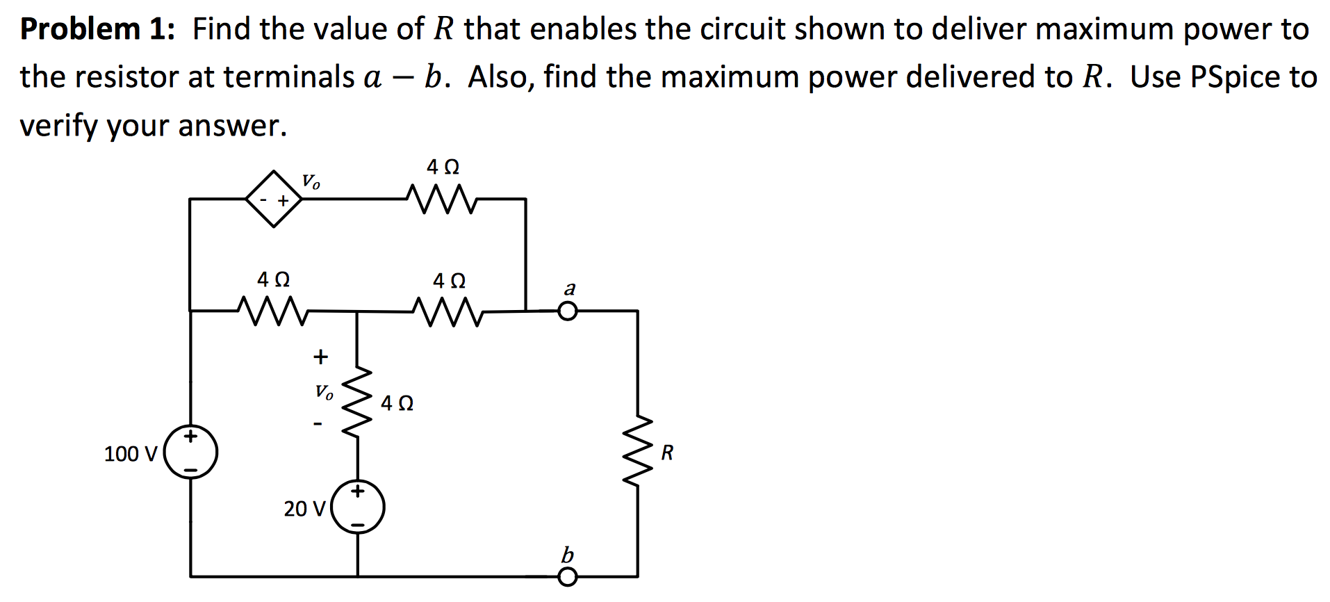 Find the value of R that enables the circuit shown