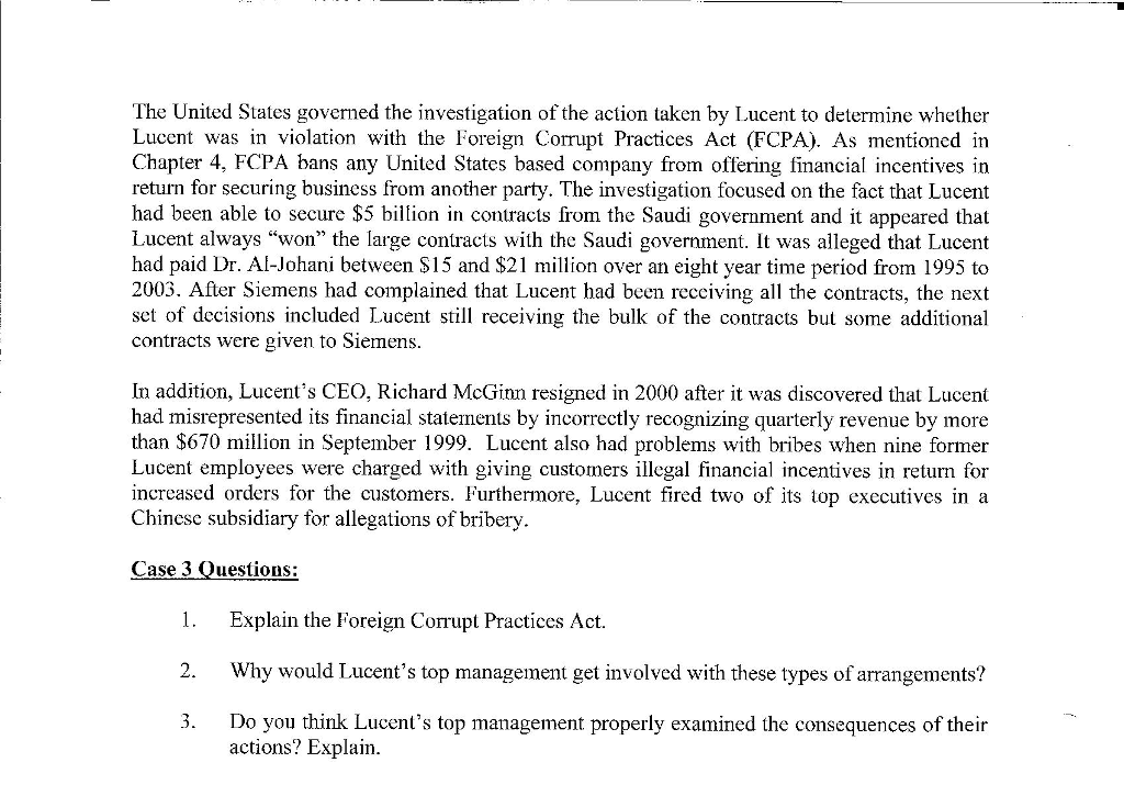Solved Case 3 Lucent Technologies What Does Fcpa Stand