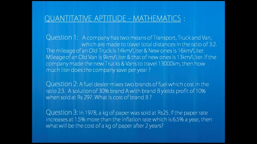 Solved: QUANTITATIVE APTITUDE - MATHEMATICS Question 1: A