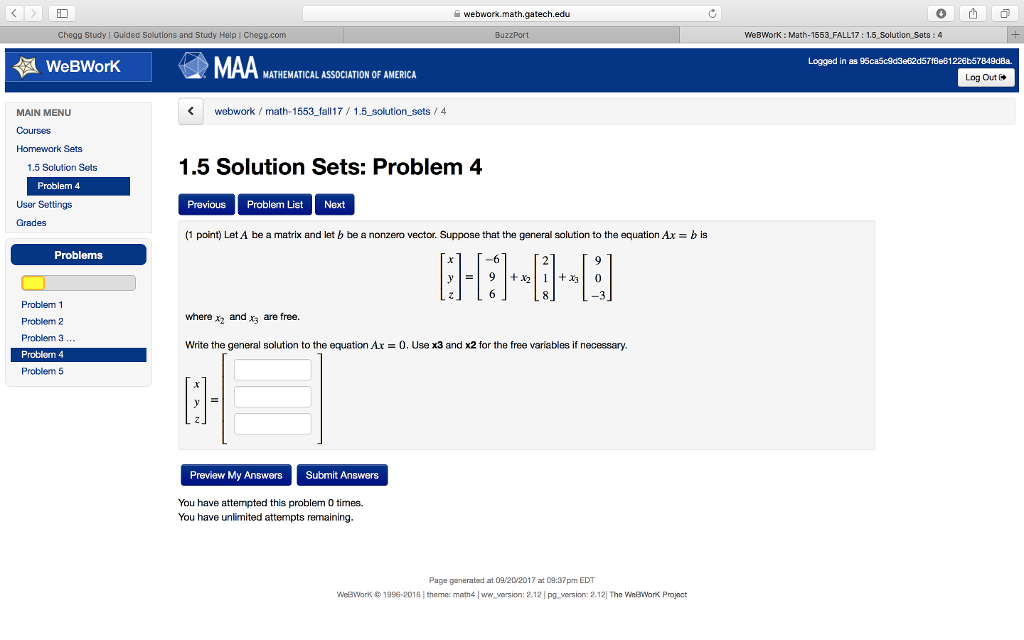 Solved: Webwork.math.gatech.edu Chegg Study | Guided Solut ...