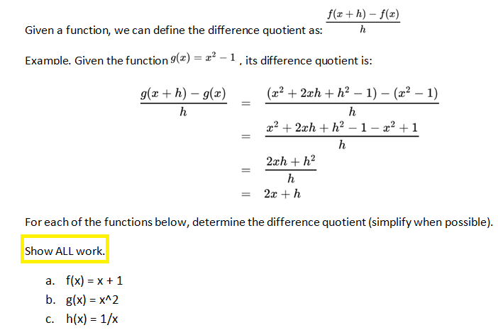 F X H F X H Calculus: Solved: Given A Function, We Can Define The Difference Quo