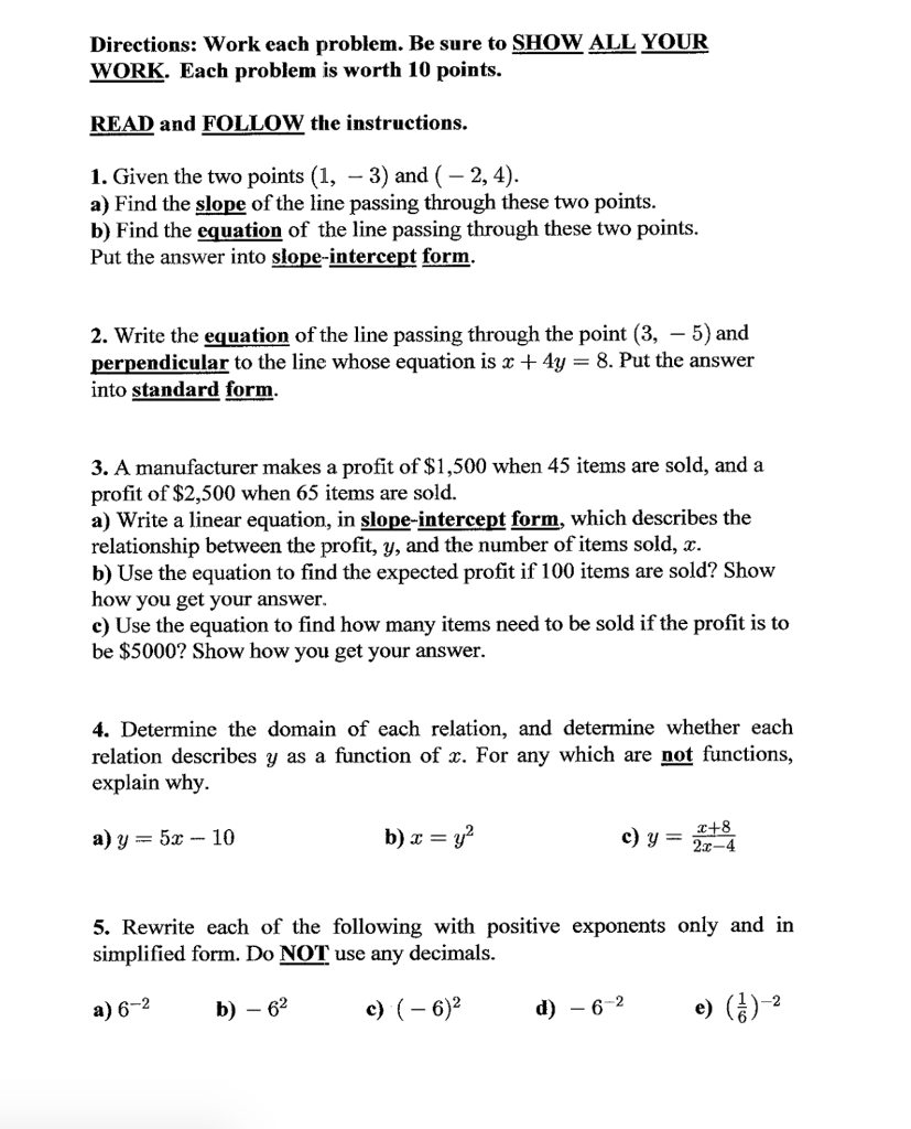 Algebra archive january 28 2018 chegg directions work each problem be sure to show all your work each problem falaconquin