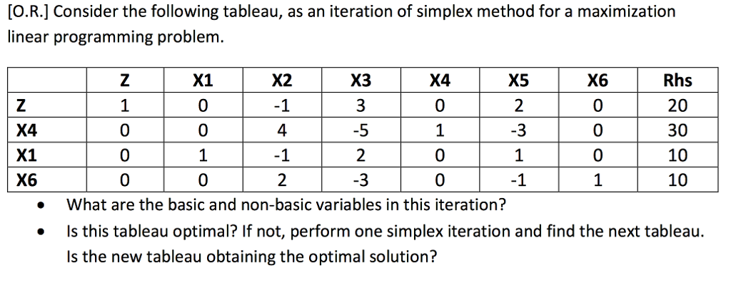 Solved: [O R ] Consider The Following Tableau, As An Itera