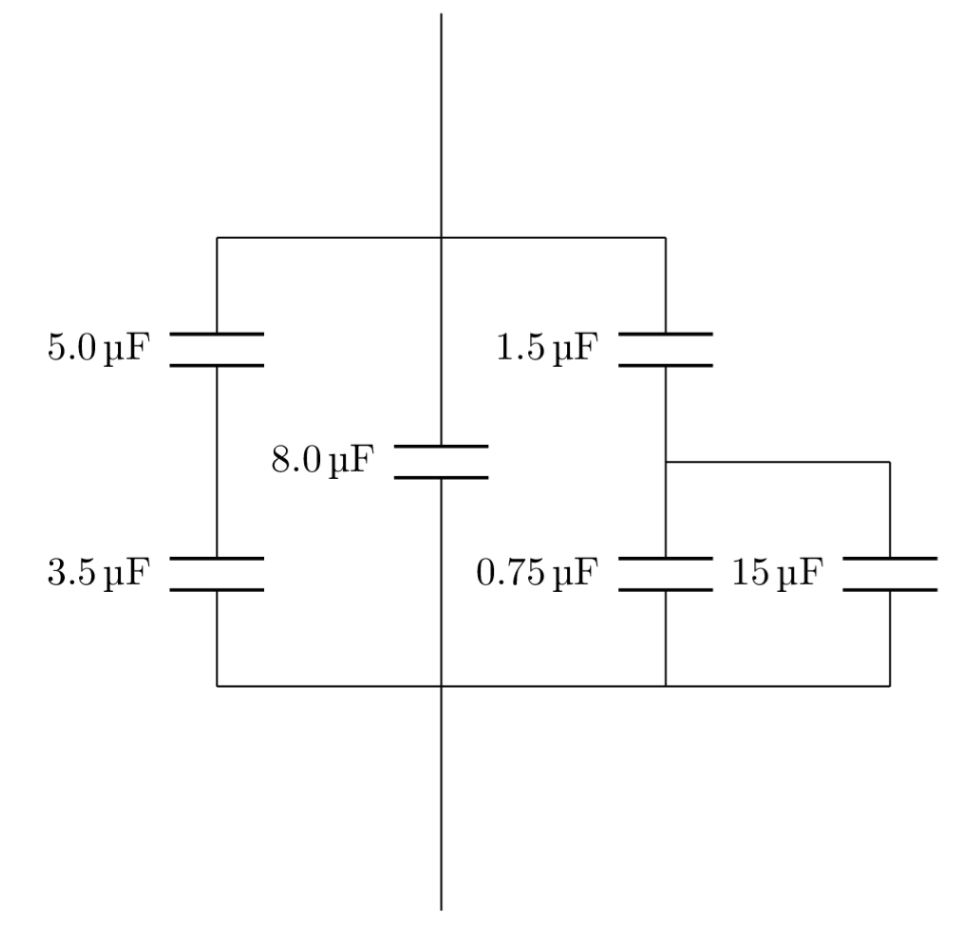 Consider the capacitors pictured in the attachment. Assume that a 10 V  power supply is connect to the top and bottom wires of the component, ...