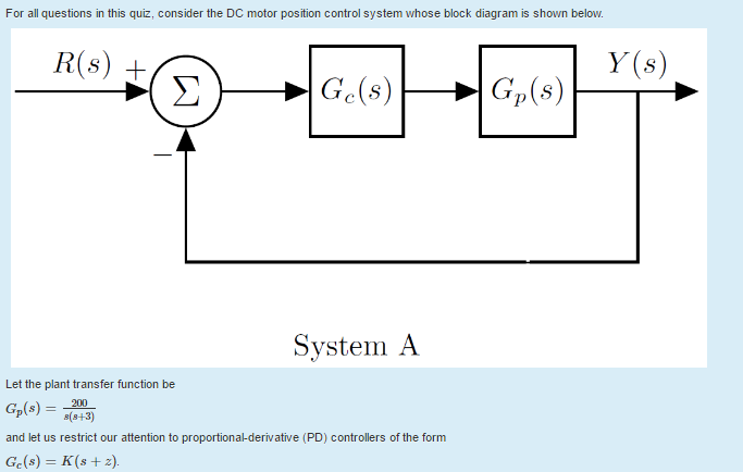 Solved for all questions in this quiz consider the dc mo for all questions in this quiz consider the dc motor position control system whose block ccuart Gallery