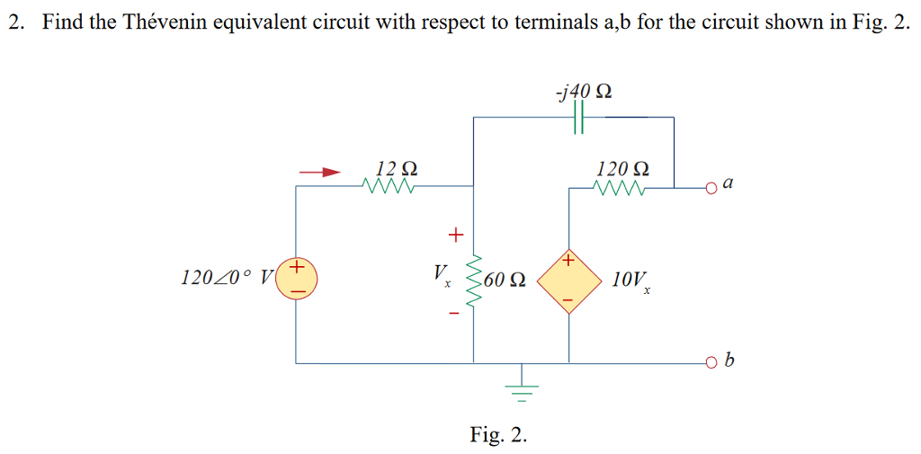 2. Find the Thévenin equivalent circuit with respect to terminals a,b for the circuit shown in Fig. 2. j40 Ω 120 Ω o a 4 60 Ω 10V Fig. 2