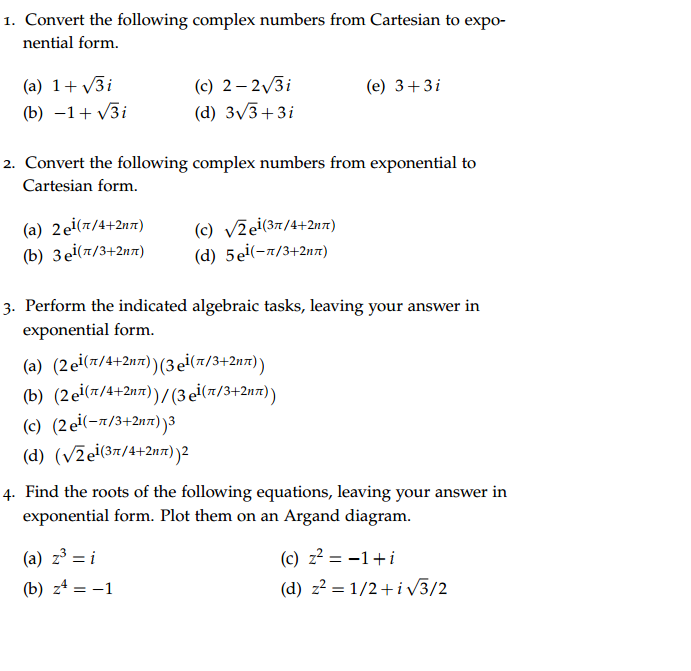 Solved: Convert The Following Complex Numbers From Cartesi