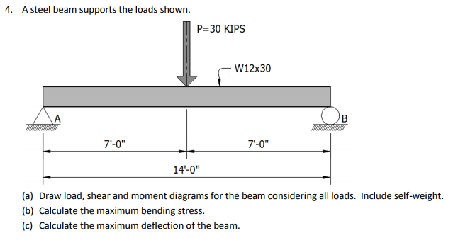 Solved: 4  A Steel Beam Supports The Loads Shown  P 30 KIP