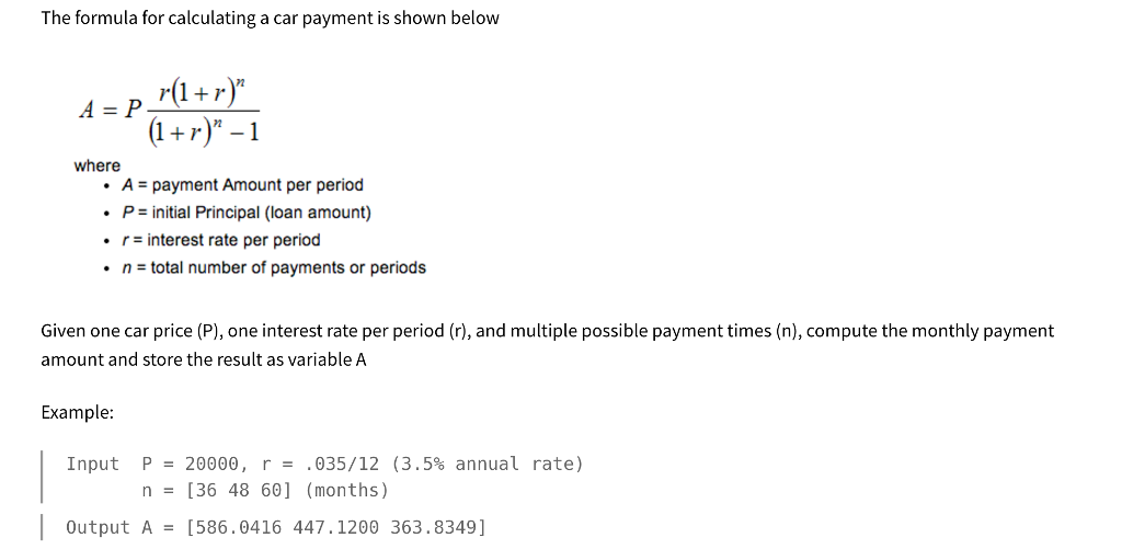 solved matlab the formula for calculating a car payment