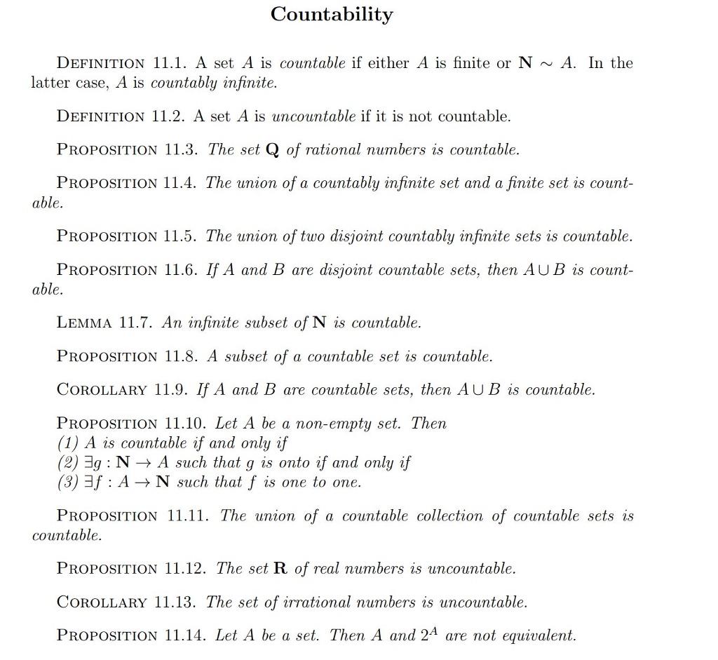 Countabilitv DEFINITION 11.1. A Set A Is Countable If Either A Is Finite Or  N