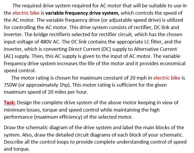 The Required Drive System Required For AC Motor Th...   Chegg.com