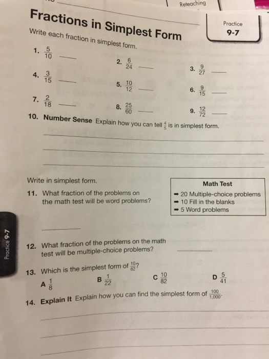 simplest form 6/24  Solved: Write Each Fraction In Simplest Form. 8/8 8/8 8 ...