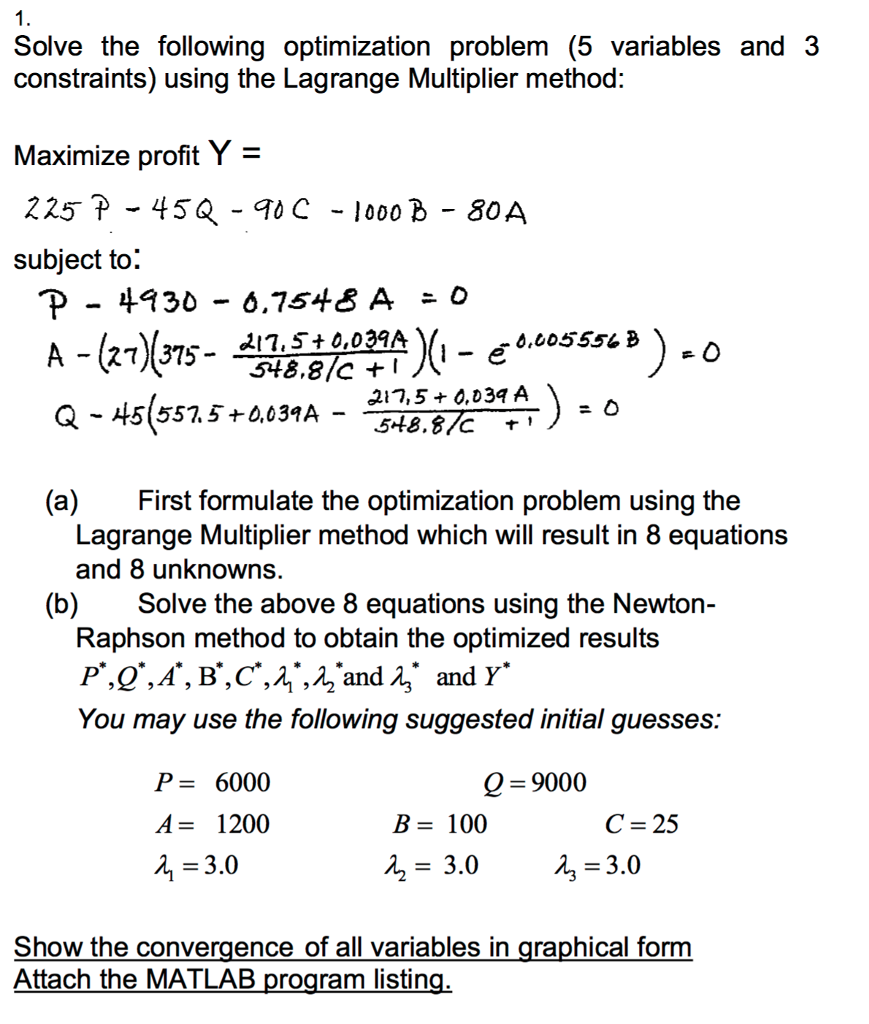 Solve The Following Optimization Problem (5 Variab