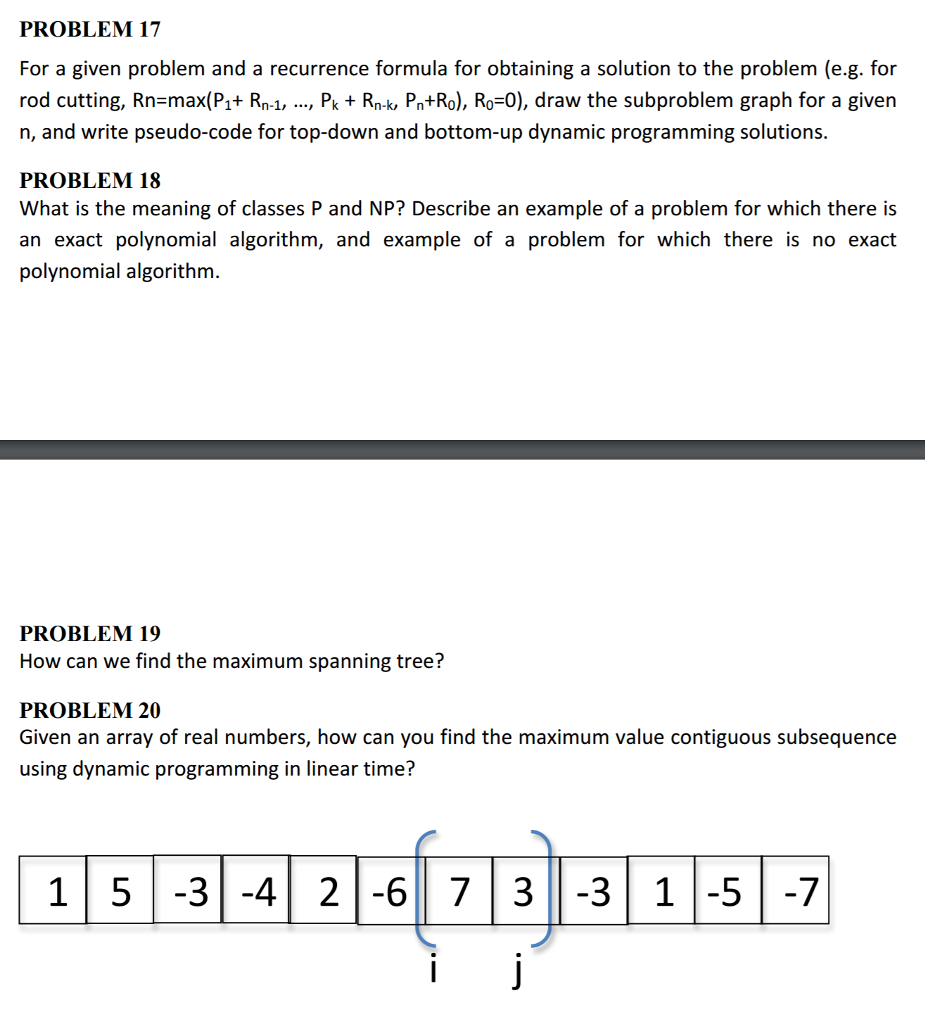 For A Given Problem And A Recurrence Formula For O Partially Filled Arrays