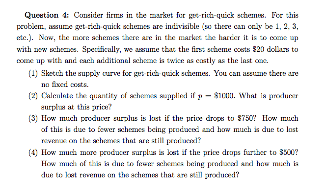 Question 4 Consider Firms In The Market For Get Rich Quick Schemes