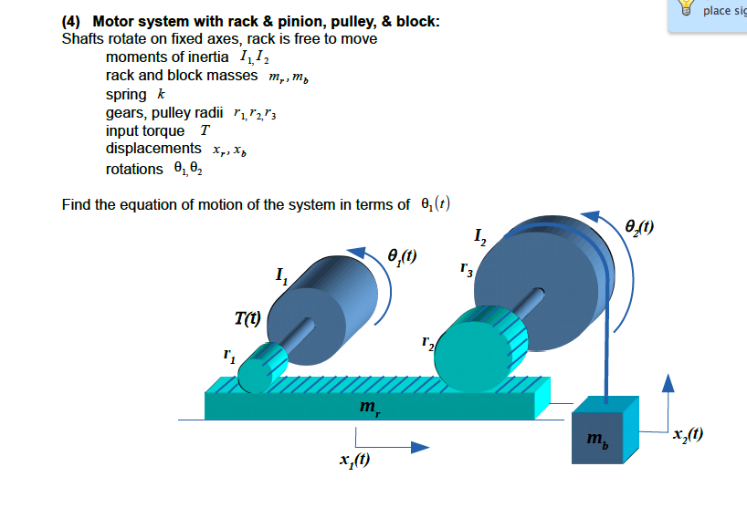 Fixed Pulley Equation : Motor system with rack pinion pulley blo chegg
