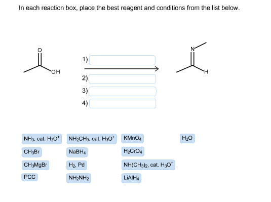 in each reaction box place the best reagent and conditions from the list below oh - photo #10