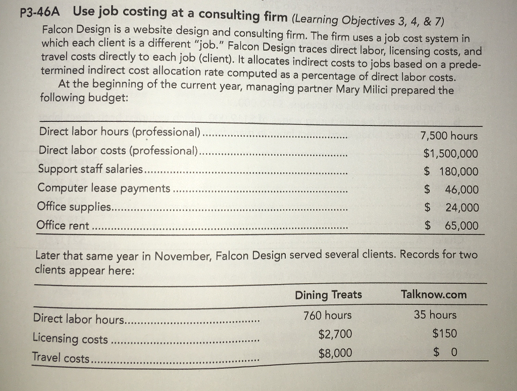 Solved: P3.46A Use Job Costing At A Consulting Firm (Learn ...