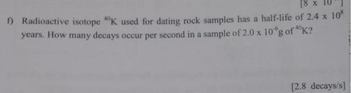 Radiometric dating homework