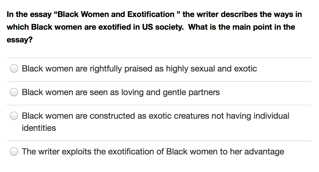 English Literature Essay Structure In The Essay Black Women And Exotification  The Writer Describes The Ways  In Which Black Women Are Exotified In Us Society What Is The Main Point In  The  Buy A Business Plan For A Boutique Hotel also Essay On Importance Of English Language Solved In The Essay Black Women And Exotification  The  Science And Technology Essay Topics