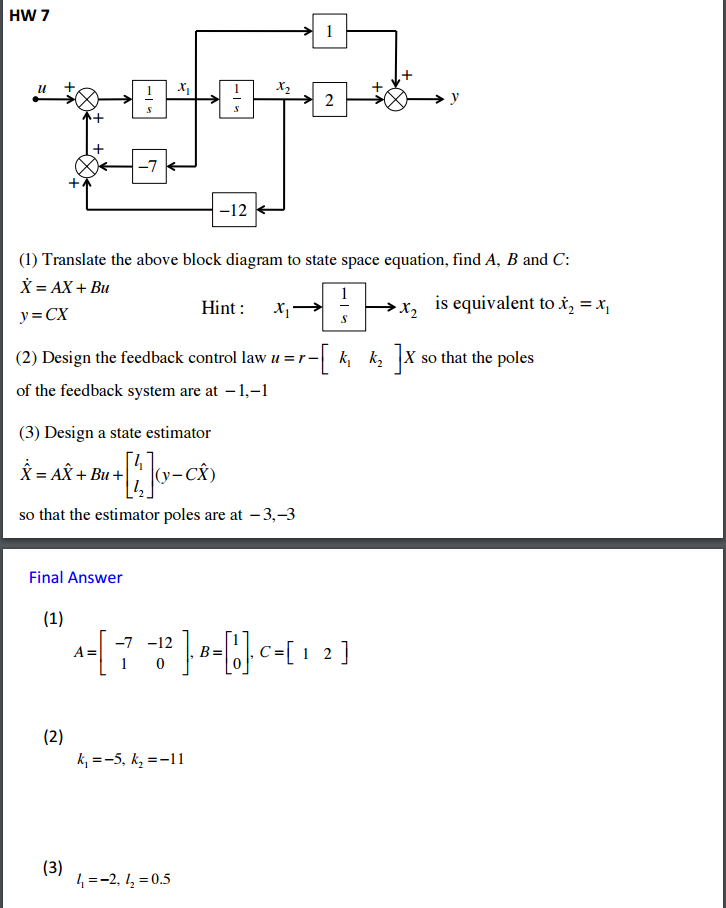 translate the above block diagram to state space e