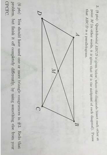 Solved quadrilateral abcd is given below where the diago 8 pts quadrilateral abcd is given below where the diagonals bisect ccuart Gallery